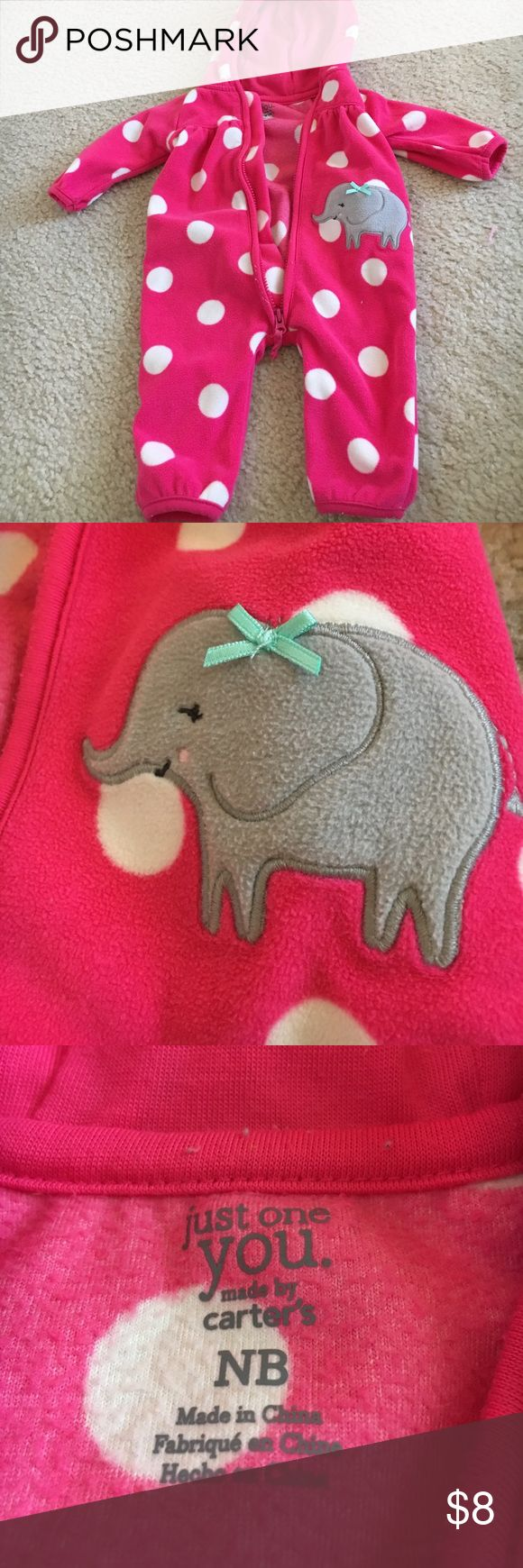 Pink polka dot newborn one piece Pink polka dot elephant one piece. Just One You by Carters. Newborn. Really soft and warm. Zips up. Has hood. Only worn once! Carter's One Pieces Bodysuits