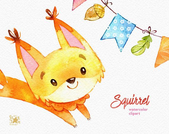 Squirrels and bunting banners. Forest greetings by StarJamforKids