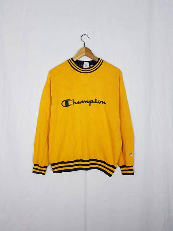 Neck Stripes Out Spell Chest Crew Vintage Champion 90s Printed 7Hq8p8