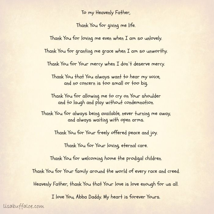 To my Heavenly Fatheru2026 Thank You for giving me life Thank You for - thank you for loving me letter