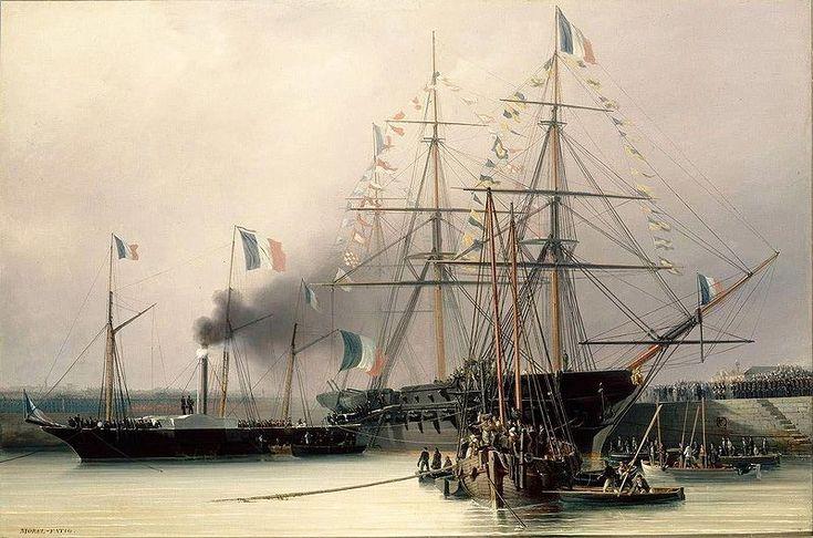 Le transbordement du cercueil de la Belle Poule sur le vapeur Normandie en rade de Cherbourg le 8 décembre 1840, Léon Morel-Fatio, 1841, château de Versailles.