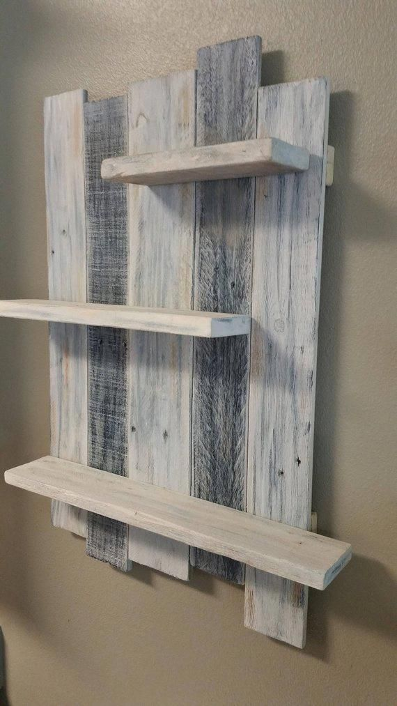 Handmade Reclaimed White Washed Wood Shelving Wall Decor. Rustic Wall Hanging S…