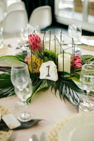 115 Romantic Tropical Wedding Ideas Reception Centerpiece Wedding