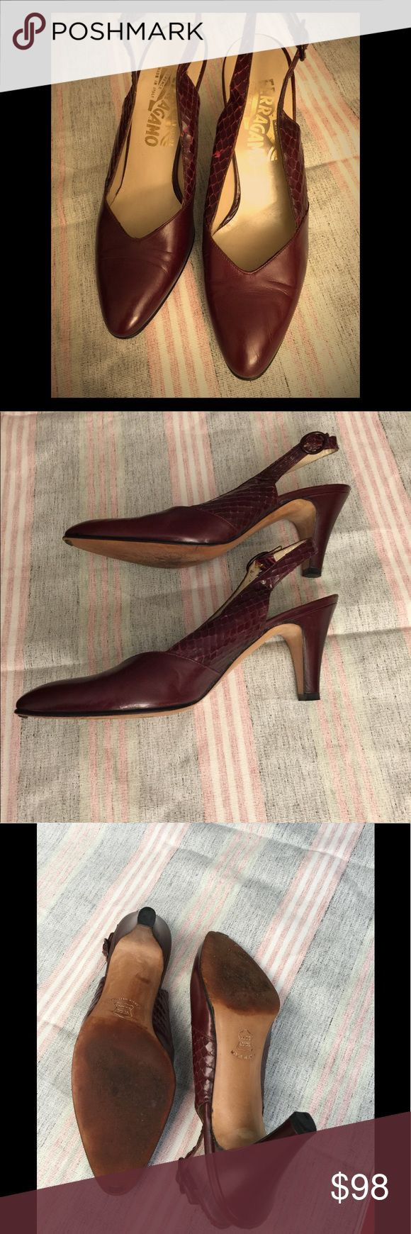 Ferragamo slingback shoes These vintage Ferragamo shoes are gently used and in Fall's new color, wine. Ferragamo is a luxury brand known for their well-made goods and smooth leather.  This is a classic pointed toe slingback shoe with a 3 inch (7.62 cm) heel.  It has patent leather on the pointed toe with snakeskin on the slingback strap.  Details: the shoe size is 5.5 (Euro 35.5) and AA for narrow.  Pre-loved. Ferragamo Shoes Heels