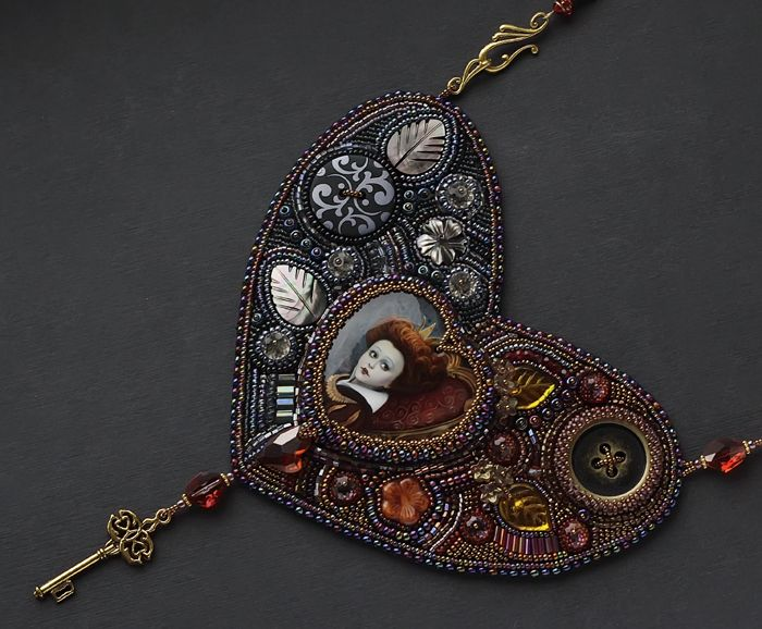 """Necklace """"Her Majesty the Red Queen"""" by Natalia Galetskaya (Carried) from Moscow"""