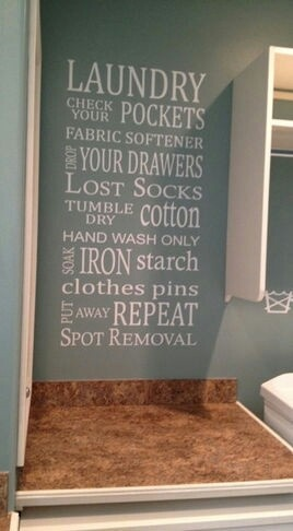 Very cute design idea to use in empty wall space in the laundry area.
