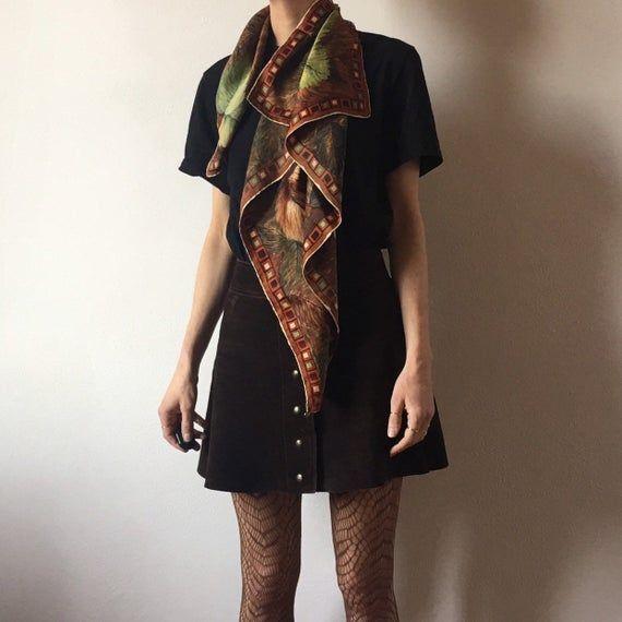 50's Silk Scarf Abstract Autumn Leaves Boho Beatnik
