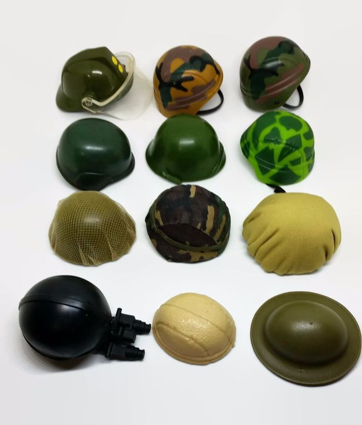 "12"" Military Action Figure Helmet Assorted Lot of 12 Toy Doll Clothing Accessory #Unbranded"
