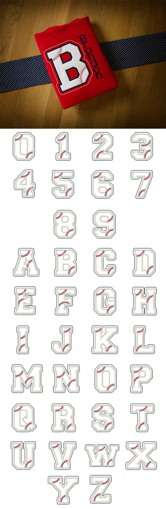 Baseball Applique Alphabet available for instant download at www.designsbyjuju.com