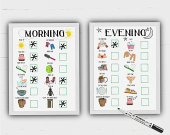 Kids visual timetable, Girls Routine, Boys routine, print at home, toddler routine charts, visual aid, ASD, ADHD, morning, evening, DOWNLOAD