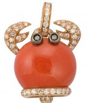 gioielli estivi marini chantecler granchio corallo ciondolo diamanti