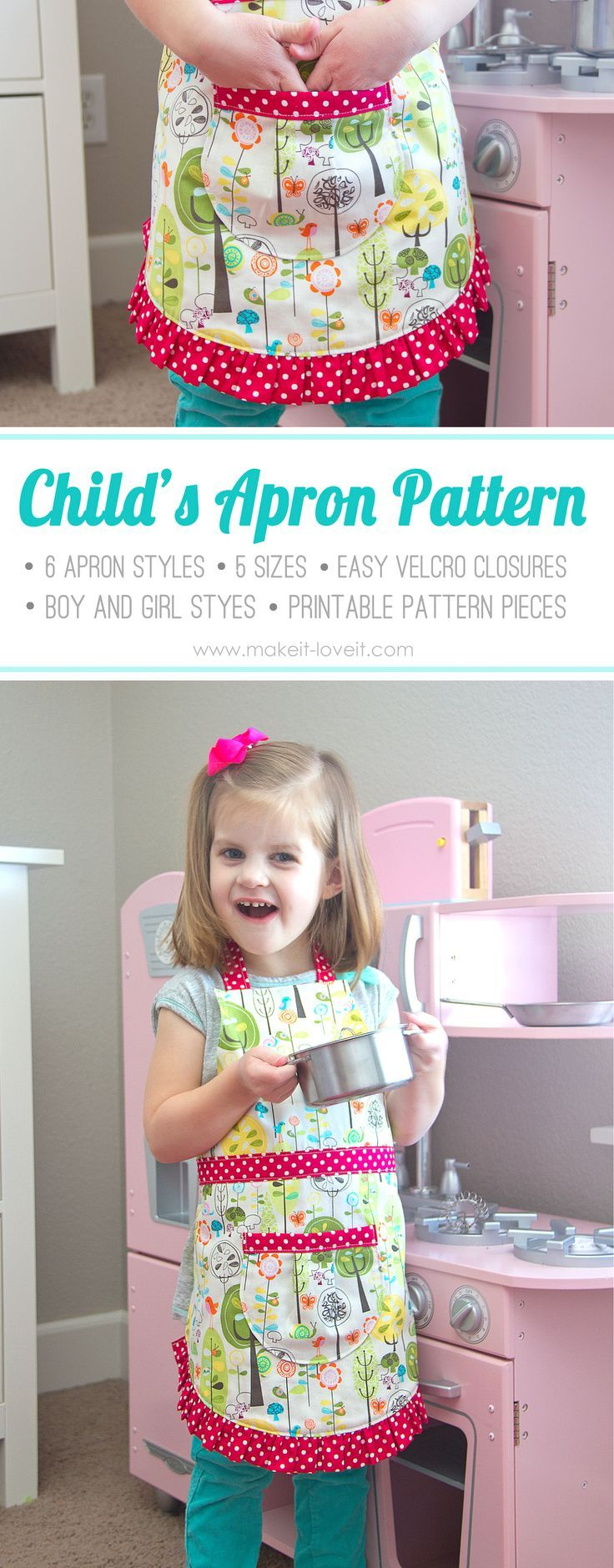 Ruffle Apron PDF Pattern (6 apron girl & boy styles, 5 sizes, easy Velcro closure, printable pattern pieces) | via Make It and Love It #iloverileyblake