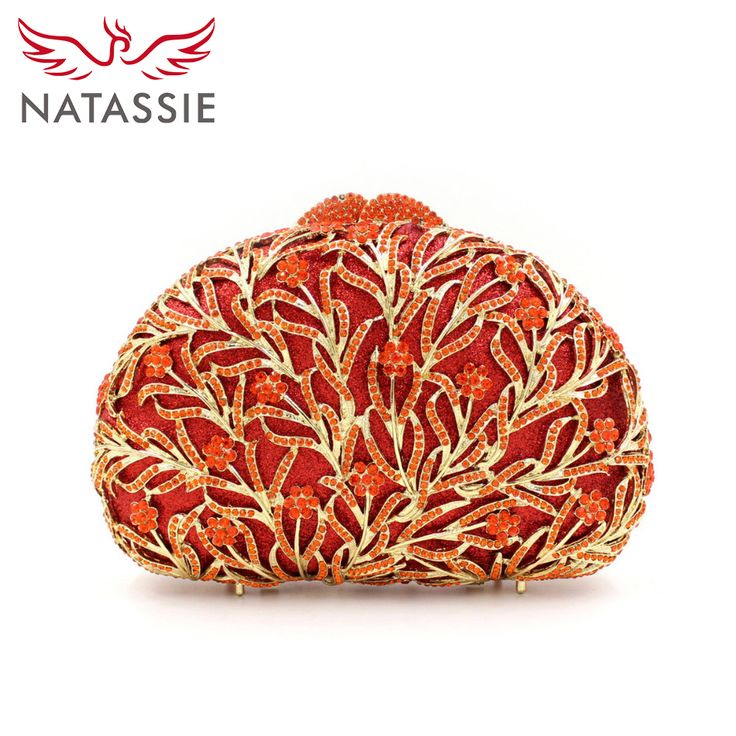 NATASSIE New Women Shell Shaped Luxury Crystal Evening Handbag Wedding Party Clutch Bag Diamonds Orange Gold Silver  #womanfashion #womenfashion #clutch #eveningbag #partybag