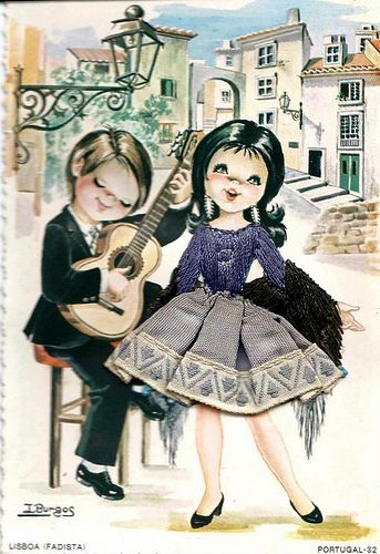 fado singer - lisbon - aaww it's one of those cute little 'material' postcards, I love them! This one's so cute :-)