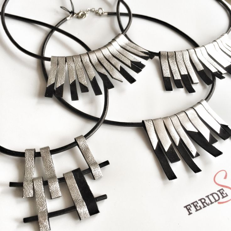 leather necklace with silver effect