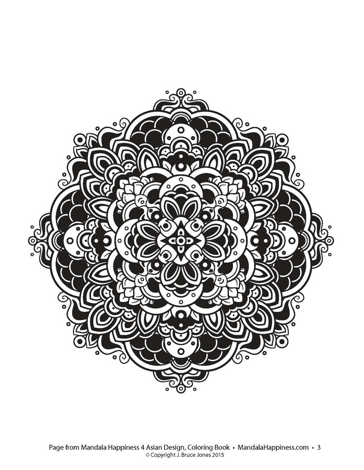 Mandala From The Book Happiness 4 Asian Coloring Designs