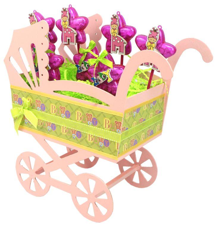 Carreola grande de madera  Centro de mesa para Baby Shower en color rosa