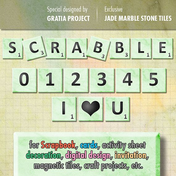 Scrabble Tiles  Jade Marble Stone Letters Clip Art ABC 123