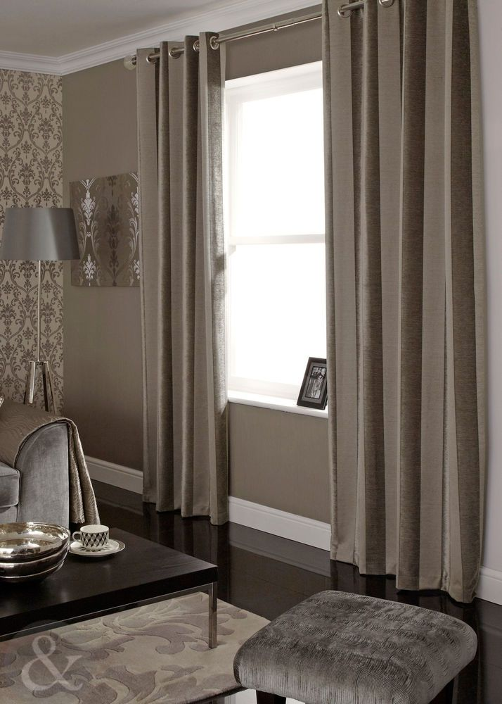 Luxury Chenille Natural Mink Curtains - Striped Velvet Lined Eyelet Curtains