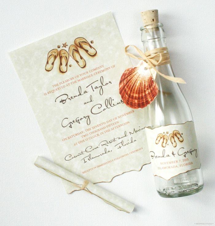 invitaciones de boda vintage, invitación de boda como carta en botella de vidrio con tapón de corcho y concha