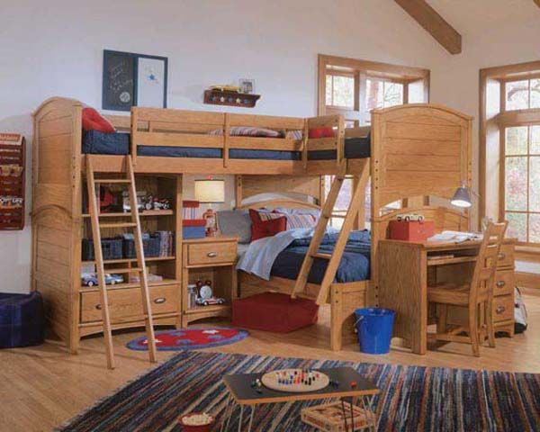 Best Wooden Bunk Beds For Kids 3 Beds 2 On Top Double On 640 x 480