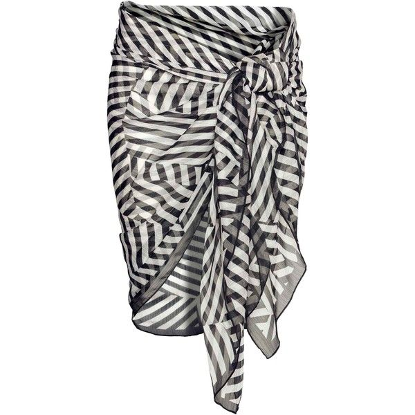 Patterned sarong ($7.75) ❤ liked on Polyvore featuring swimwear, cover-ups, print swimwear, sarong cover ups and sarong swimwear