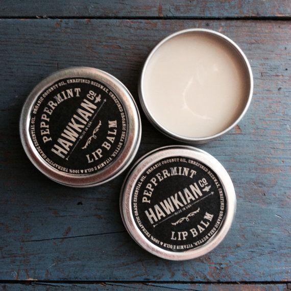 1 oz Organic Lip Balm Peppermint Lip Balm Chap Stick by HawkianCo, $6.00