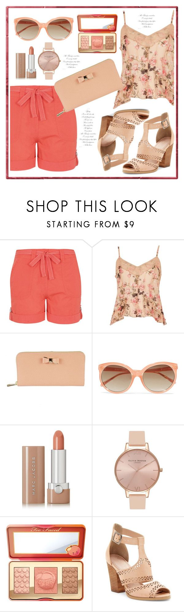 """""""peach shorts"""" by paperdolldesigner ❤ liked on Polyvore featuring George, River Island, Furla, Linda Farrow, Marc Jacobs, Olivia Burton, Too Faced Cosmetics and Restricted"""