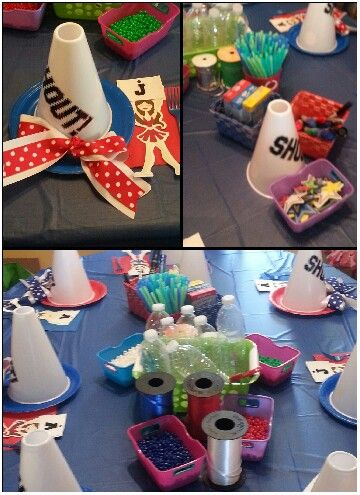 Cheerleading Birthday Party.   Decorate megaphones and make water bottle shakers with beads.