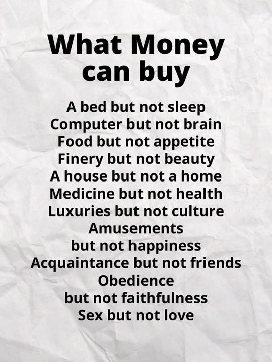 What money can buy…