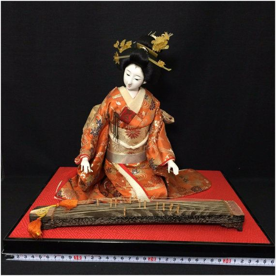 Japanese doll Ningyo geisha playing instrument by Ritzco on Etsy
