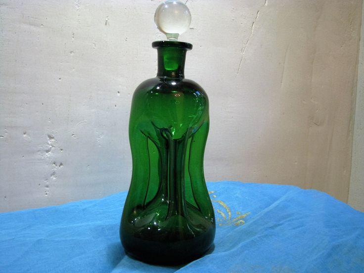 Large Decanter Green Holmegaard Glass Cluck Cluck Bottle – Vintage 1960s Danish Mid Century Modern Barware – Scandinavian Design by J. Bang von everglaze auf Etsy