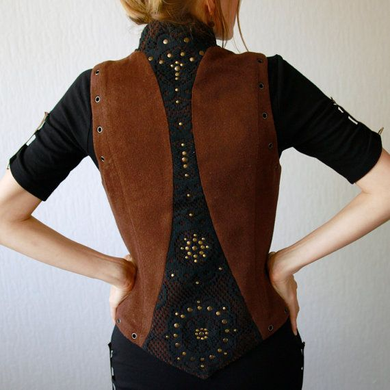 Woodland vest  brown vest decorated with black lase by vaisto