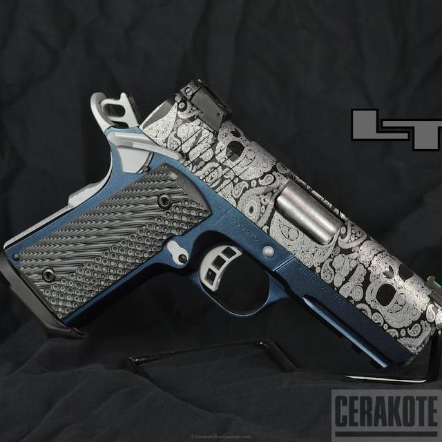 Mobile-friendly version of the 1st project picture. Graphite Black H-146Q, Rock Island Armory, 1911, Pistol, Hydrographics, Crushed Silver H-255Q, Concrete E-160Q, Gun Candy