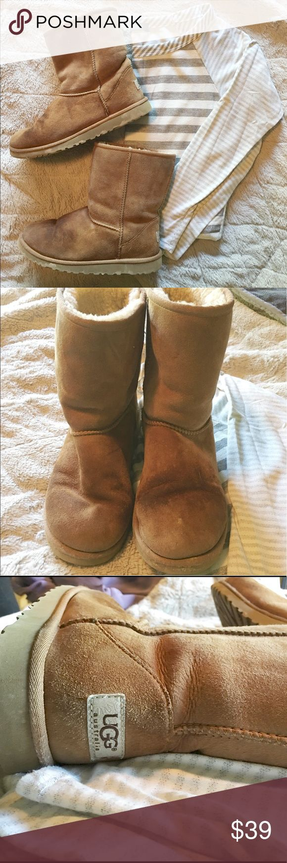 Chestnut UGG boots Mid height chestnut Uggs, size 6. Normal wear (shown in photos) but still lots of life and warmth left in them 💕 UGG Shoes Winter & Rain Boots