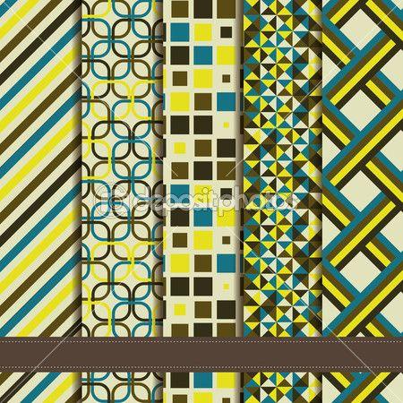 conjunto de patrones inconsútiles geométricos abstractos — Ilustración de stock #33813609