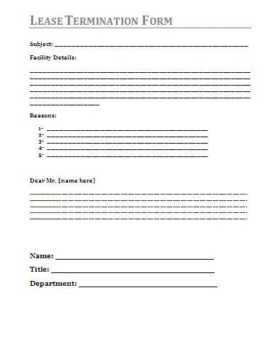 Lease Termination Agreement Template - lease termination form