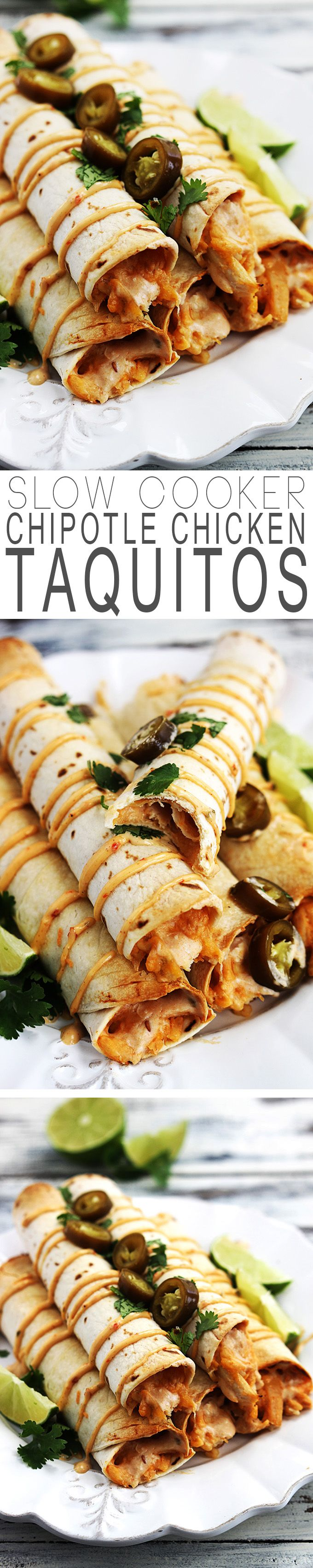 Creamy chicken taquitos with a spicy chipotle kick -- this is an easy slow cooker main dish or appetizer the whole family will love. http://lecremedelacrumb.com/2014/10/slow-cooker-creamy-chipotle-chicken-taquitos.html