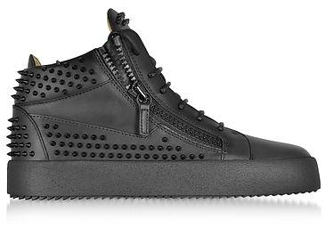 Giuseppe Zanotti Black Studded Leather High Top Sneakers Männer Mode Schuhe