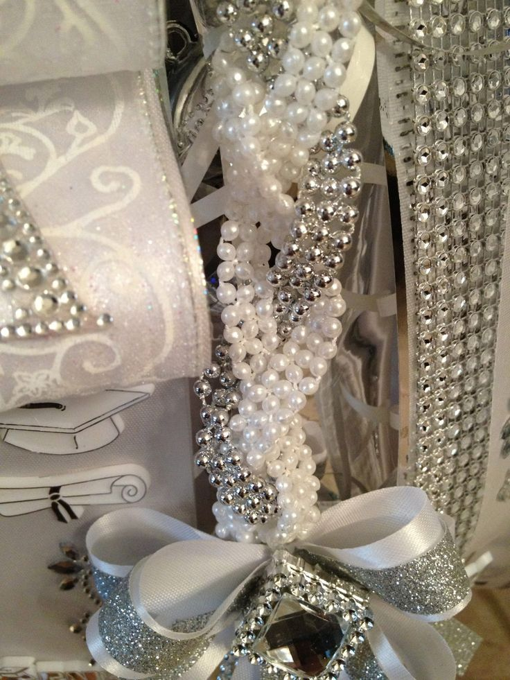 pearls and rhinestone ribbon for mums