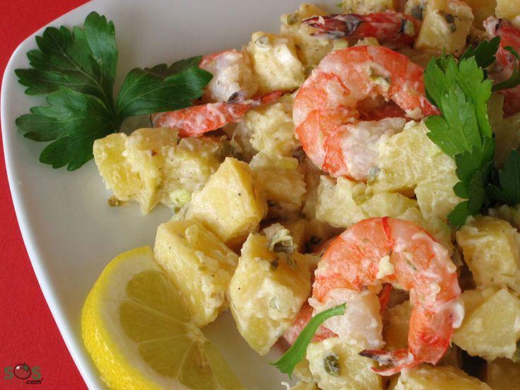 SOSCuisine: Salade de pommes de terre, oeufs et crevettes with ciboulettes câpres