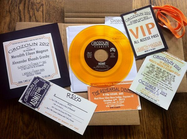 "Make playable 7"" vinyl records for your concert-themed wedding invitions 