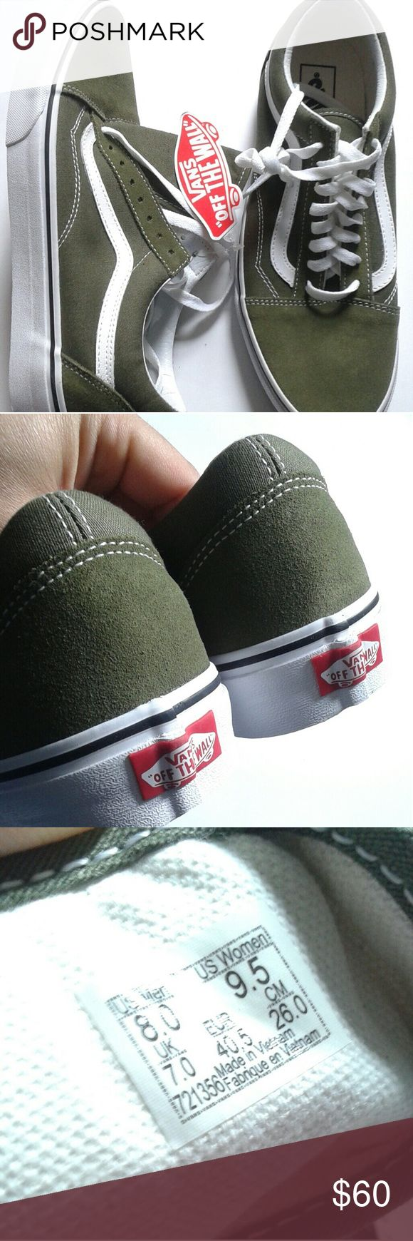 FIRM PRICE New Green Suede Vans Old Skool Sneakers Hi, for sale are a new pair of green old skool sneakers by Vans in a women's size 9.5. Vans are Unisex. Vans Shoes Sneakers