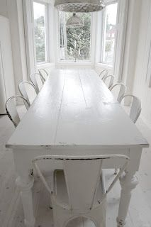 LAKE COTTAGE DREAMS: Beach House Decorating Ideas....I have a large table similar to this one at the beach house...all I would need to do is paint it!!!
