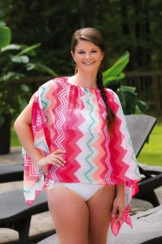 Convertible Beach Cover Up, 2 Asst, Coral and Chevron