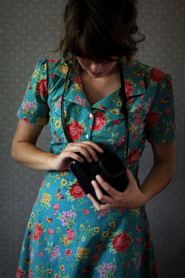 vintage floral shirt dress
