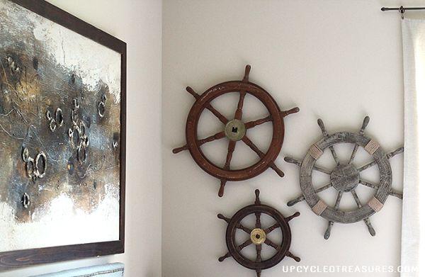 Nautical ship helm wall gallery