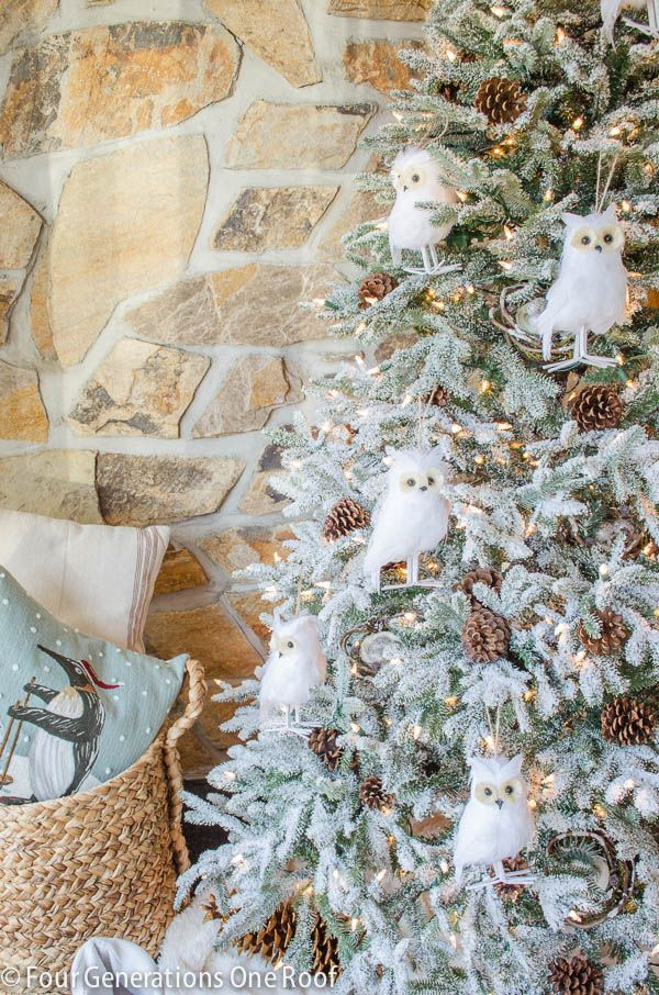woodland theme / frosted fraser fir christmas tree + white owls