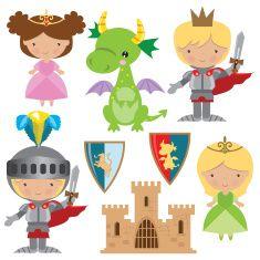 Medieval knight, princess and dragon vector illustration vector art illustration