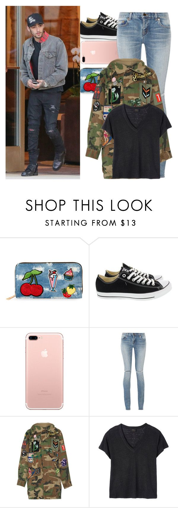"""With Zayn"" by angelbrubisc ❤ liked on Polyvore featuring Viola, Converse, Yves Saint Laurent, Marc Jacobs and Deby Debo"